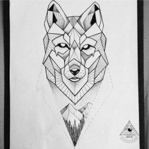 desenho de tatuagem de lobo