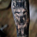 tatuagem de lobo no braco